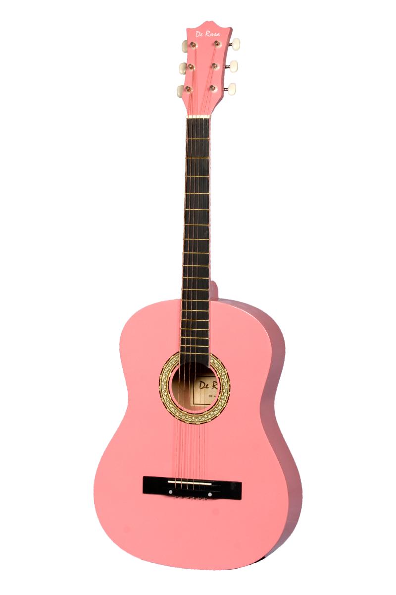 De Rosa DK3810R-PK Kids Acoustic Guitar Outfit Pink