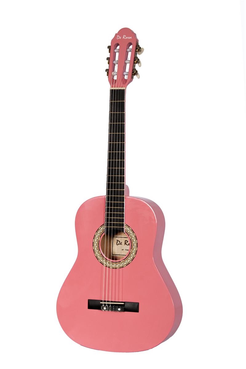 De Rosa Dkf36 Pk Kids Classical Guitar Outfit Pink