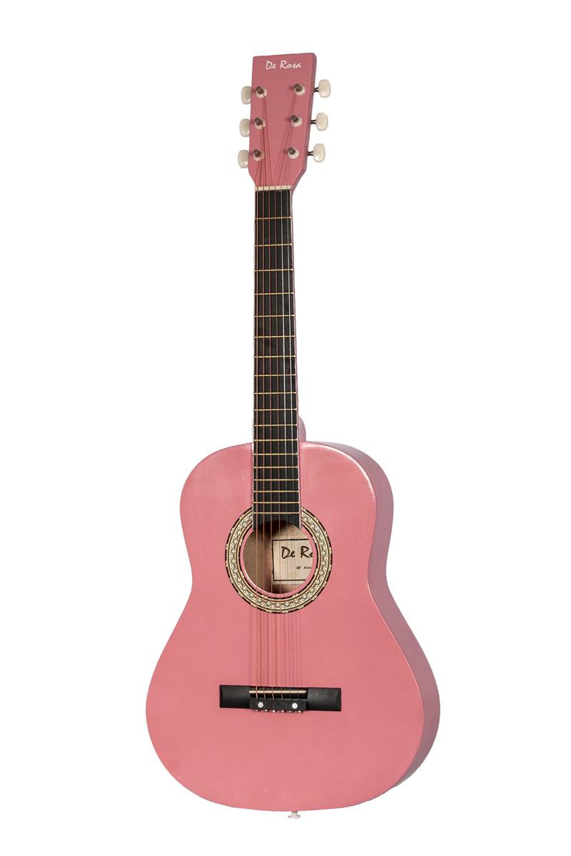 De Rosa Dkg36 Pk Kids Acoustic Guitar Outfit Pink