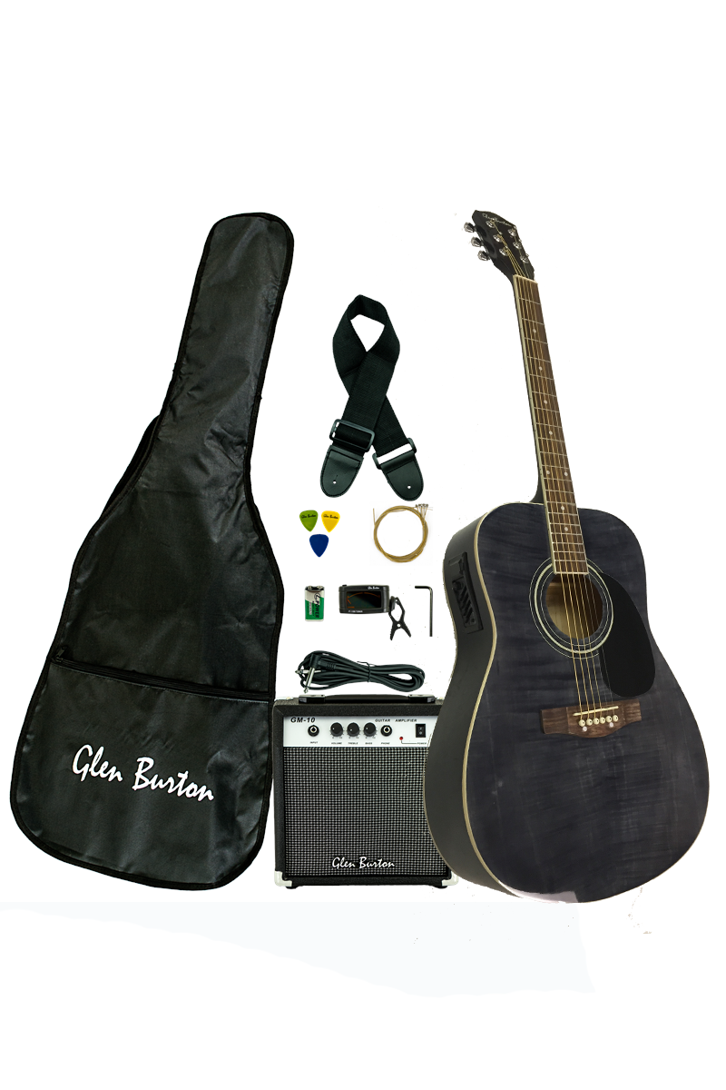 glen burton ga101ebco bk dreadnought acoustic electric guitar combo. Black Bedroom Furniture Sets. Home Design Ideas