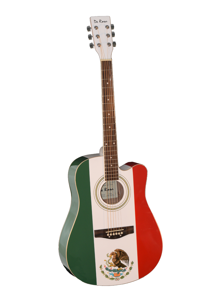 de rosa ga410c mx mexican flag cutaway dreadnought acoustic guitar. Black Bedroom Furniture Sets. Home Design Ideas