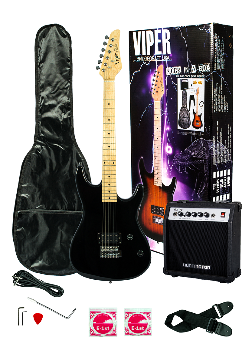 Viper Ge93co Bk Solid Body Electric Guitar Combo Package